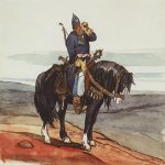 Vasnetsov Viktor Mikhailovich (1848  1926)  Bogatyr, 1870-s  Watercolor, paper  The State Tretyakov Gallery, Moscow, Russia
